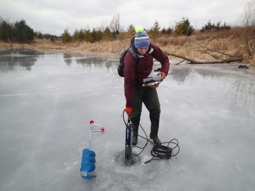 Checking water under the ice with YSI probe